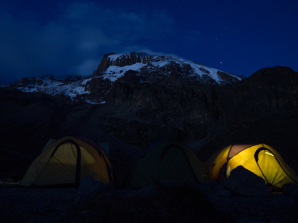 photo of tents at night